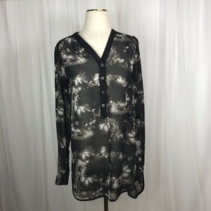 Mossimo Sheer Long sleeve Blouse Size small